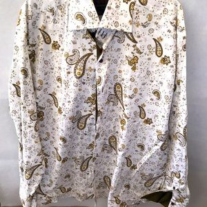 AXXESS Pure Cotton Paisley Dress Shirt Mens XL